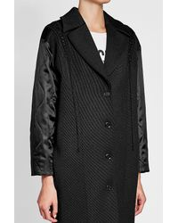 Moschino - Black Wool Twill Coat With Fabric Sleeves - Lyst