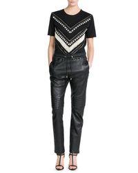 Balmain | Black Embroidered T-shirt | Lyst