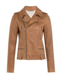 Joseph - Brown Leather Biker With Shearling Lining - Lyst