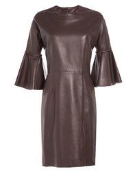 Alexander McQueen - Brown Leather Dress - Lyst