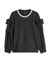 Simone Rocha Black Beaded Ruffle Sweatshirt