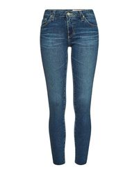 AG Jeans Blue Cropped Super Skinny Jeans The Legging Ankle