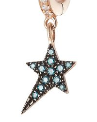 Diane Kordas - 18kt Rose Gold Star Earring With White And Blue Diamonds - Lyst