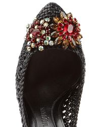 Alexander McQueen | Black Woven Leather Pumps With Crystal Embellishment | Lyst