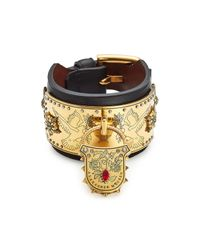 Alexander McQueen - Multicolor Padlock Embellished Leather Cuff - Lyst