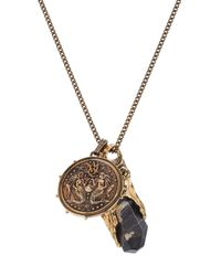 Alexander McQueen - Metallic Necklace With Medallion And Stone - Lyst