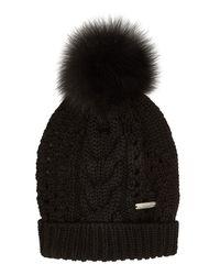 Woolrich - Black Pom-pom Beanie - Lyst