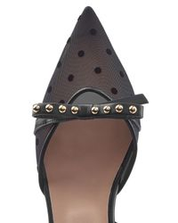 RED Valentino - Black Kitten Heel Pumps With Leather And Point D'esprit - Lyst