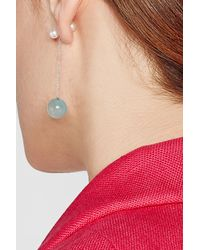 Delfina Delettrez - 18kt Yellow Gold Earring With Chalcedony And Pearls - Lyst
