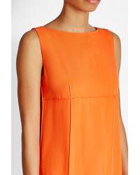 DKNY - Orange Shift Dress With High-low Hemline - Lyst