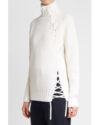 Karl Lagerfeld - Multicolor Lace-up Turtleneck With Wool And Cashmere - Lyst