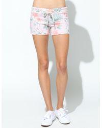 Sundry Blue Tropical Floral Cutoff Shorts