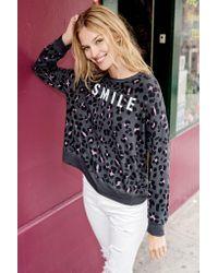 Sundry - Gray Smile Leopard Print Hoodie - Lyst