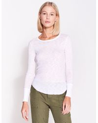 White SUNDRY Womens Fitted Long Sleeve