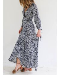 Natalie Martin | Blue Danika Longsleeve Dress, Navy Cream | Lyst
