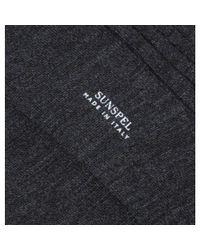 Sunspel Black Men's Merino Cotton Socks In Charcoal Melange for men