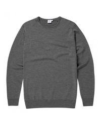 Sunspel | Gray Men's Fine Merino Wool Jumper In Mid Grey Melange for Men | Lyst