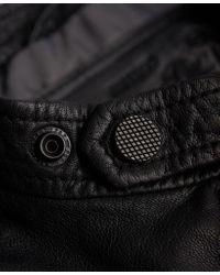 Superdry Black Real Hero Biker Leather Jacket for men