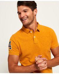 Superdry Orange Classic Embossed Pique Polo Shirt for men