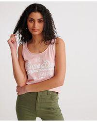 Superdry Pink Vintage Logo Floral Infill Classic Vest