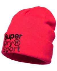 Superdry - Pink Fold Sport Beanie - Lyst