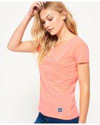 Superdry Orange Vintage Logo Embossed Pop Boyfriend T-shirt
