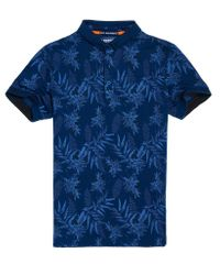 Superdry Blue City All Over Print Jersey Polo Shirt for men
