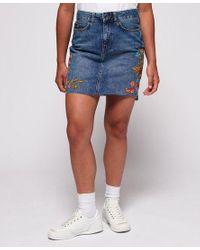 Superdry Blue Denim Mini Skirt