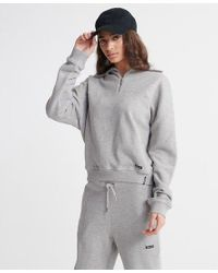 Superdry Gray Edit Funnel Sweat Loopback Track Top