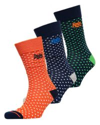 Pack de tres pares de calcetines City en caja Superdry de hombre de color Multicolor