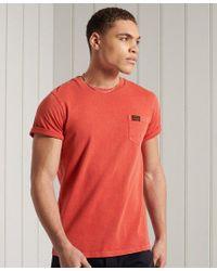 Superdry Orange Organic Cotton Workwear Pocket T-shirt for men