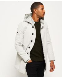 Superdry Gray Idris Borough Trench Coat for men
