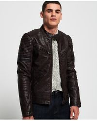 Superdry Red Sd Endurance Indy Circuit Leather Jacket for men