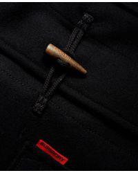Superdry Black Rookie Duffle Coat for men