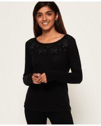 Superdry Black Alba Floral Top