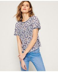 Superdry Blue Tori All Over Lace Top