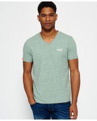 Superdry - Green Vintage Embroidered V-neck T-shirt for Men - Lyst