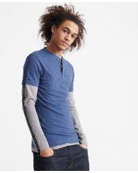Superdry Blue Heritage Short Sleeve Henley T-shirt for men
