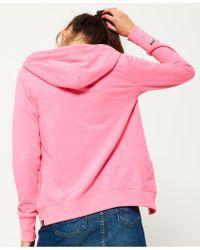 Superdry - Pink Orange Label Luxe Loopback Zip Hoodie - Lyst