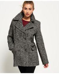 Superdry - Blue Classic Wool Pea Coat - Lyst