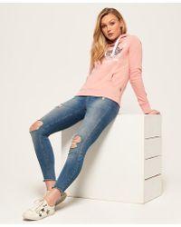 Superdry - Pink Shirt Shop Sequin Hoodie - Lyst