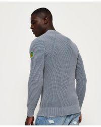 Superdry - Blue Garment Dye Wash Texture Crew Jumper for Men - Lyst