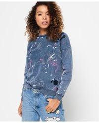 Superdry - Blue Splatter Paint Punk Crew Sweatshirt - Lyst