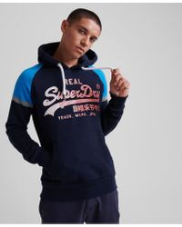 Superdry Blue Vintage Logo 1st Raglan Hoodie for men