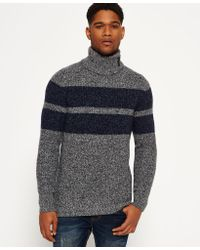Superdry - Gray Surplus Knitted Funnel Jumper for Men - Lyst