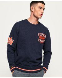 Superdry Blue Split Track Oversized Sweatshirt for men