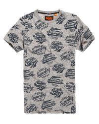 Superdry Gray Triple Logo All Over Print Long Line T-shirt for men
