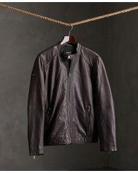 Superdry Brown Light Leather Racer Jacket for men