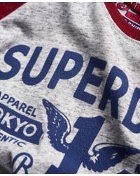 Superdry Gray Full Weight Raglan T-shirt for men