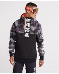 Superdry Black Snow Tech Japan Edition Hoodie for men